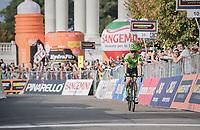 race winner Rigoberto Uran (COL/Cannondale-Drapac) crossing the finish line<br /> <br /> 98th Milano - Torino 2017 (ITA) 186km