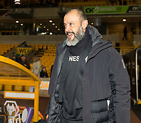 4th January 2020; Molineux Stadium, Wolverhampton, West Midlands, England; English FA Cup Football, Wolverhampton Wanderers versus Manchester United; Wolverhampton Wanderers Head Coach Nuno Espirito Santo walking on to the pitch before the match - Strictly Editorial Use Only. No use with unauthorized audio, video, data, fixture lists, club/league logos or 'live' services. Online in-match use limited to 120 images, no video emulation. No use in betting, games or single club/league/player publications