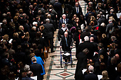 Former national security advisor Brent Scowcroft walks out behind  there casket of former president George Herbert Walker Bush down the center isle following a memorial ceremony at the National Cathedral in Washington, Wednesday,  Dec.. 5, 2018.  <br /> Credit: Doug Mills / Pool via CNP