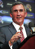 Ashburn, VA - January 6, 2010 -- Mike Shanahan, newly named head coach of the Washington Redskins, answers questions at an introductory press conference at Redskins Park in Ashburn Virginia on Wednesday, January 6, 2010.  Previously, Shanahan was head coach of the Denver Broncos..Credit: Ron Sachs / CNP