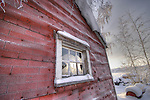 Red Old Town shack in winter