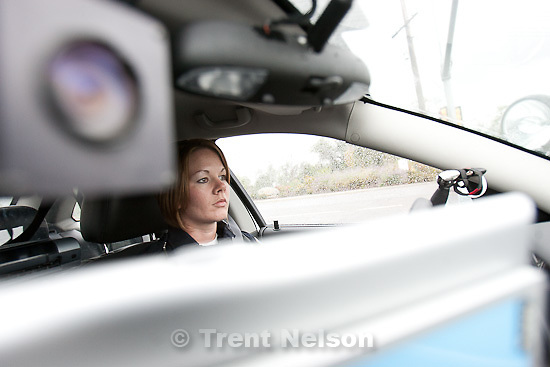 Trent Nelson  |  The Salt Lake Tribune.Officer Jessie Frampton patrolling in Sandy, Utah, Wednesday, October 5, 2011.