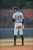Greensboro Grasshoppers Starting Pitcher Alex Manasa (28) prepares to throw a pitch during a game with the Hickory Crawdads at L.P. Frans Stadium on May 27, 2019 in Hickory, North Carolina.  The Grasshoppers defeated the Crawdads 8-2. (Tracy Proffitt/Four Seam Images)