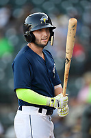 Second baseman Michael Paez (3) of the Columbia Fireflies bats in a game against the Lexington Legends on Thursday, June 8, 2017, at Spirit Communications Park in Columbia, South Carolina. Columbia won, 8-0. (Tom Priddy/Four Seam Images)