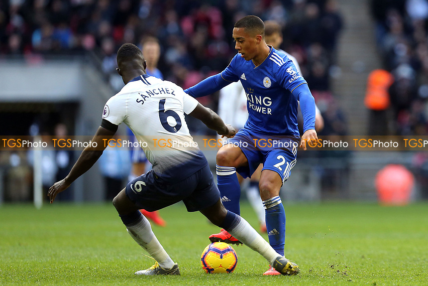 Youri Tielemans of Leicester City and Davinson Sanchez of Tottenham Hotspur during Tottenham Hotspur vs Leicester City, Premier League Football at Wembley Stadium on 10th February 2019