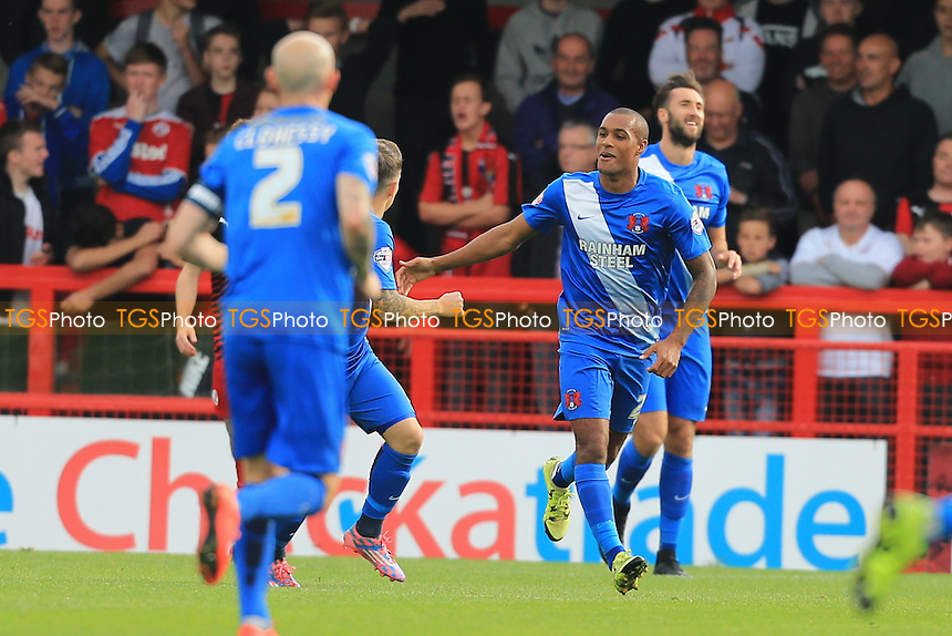 Jay Simpson of Leyton Orient celebrates the opener during Crawley Town vs Leyton Orient, Sky Bet League 2 Football at Broadfield Stadium, Crawley, England on 10/10/2015