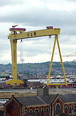 "Belfast, Northern Ireland - August 14, 2005 -- Cranes that are used to lift large ships put of the water at the Harland and Wolff shipyard in the harbor of Belfast, Northern Ireland on Sunday, August 14, 2005.  Many famous ships, including the ""Titanic"" were built in this shipyard..Credit: Ron Sachs / CNP"