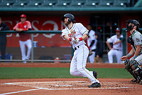Lansing Lugnuts third baseman Johnny Aiello (4) during a Midwest League game against the Wisconsin Timber Rattlers at Cooley Law School Stadium on May 1, 2019 in Lansing, Michigan. Wisconsin defeated Lansing 8-3 after the game was suspended from the previous night. (Zachary Lucy/Four Seam Images)