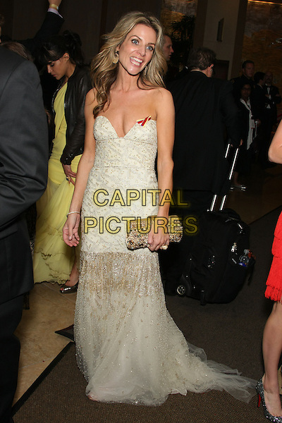 JESSALYN GILSIG .Celebrity Sighting at the 67th Annual Golden Globes inside the Beverly Hilton hotel, Beverly Hills, CA, USA,.January 17th, 2010..globes full length strapless cream gold dress beaded chiffon tulle long maxi train clutch bag .CAP/LNC/ALB.©LNC/Capital Pictures