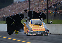 Oct. 6, 2012; Mohnton, PA, USA: NHRA funny car driver Jeff Arend during qualifying for the Auto Plus Nationals at Maple Grove Raceway. Mandatory Credit: Mark J. Rebilas-