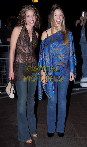 "PIPER PERABO, JANE McGREGOR.attend the ""Slap Her She's French"" film premiere at Odeon, Leicester Square.denim jeans, halterneck lace top, floaty.Ref: 11861.sales@capitalpictures.com.www.capitalpictures.com.©Capital Pictures"