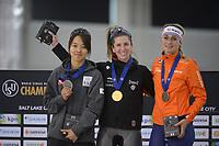 SPEEDSKATING: 16-02-2020, Utah Olympic Oval, ISU World Single Distances Speed Skating Championship, Podium Mass Start Ladies, Bo-Reum Kim (KOR), Ivanie Blondin (CAN), Irene Schouten (NED), ©photo Martin de Jong