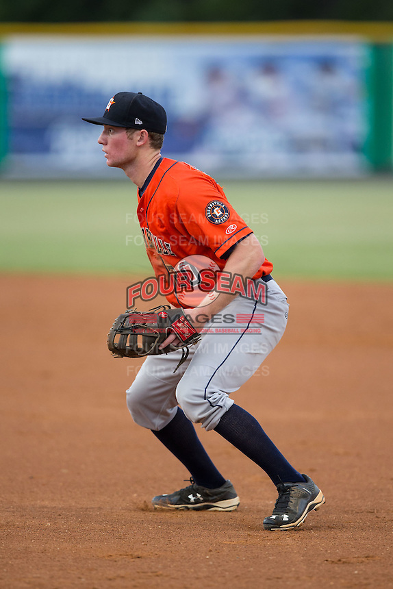 Greeneville Astros first baseman Connor Goedert (20) on defense against the Burlington Royals at Burlington Athletic Park on August 29, 2015 in Burlington, North Carolina.  The Royals defeated the Astros 3-1. (Brian Westerholt/Four Seam Images)