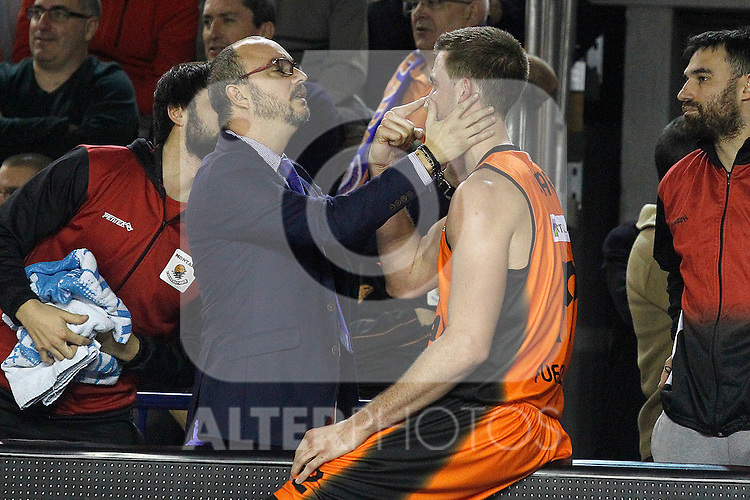 Montakit Fuenlabrada's David Wear injured during Eurocup, Top 16, Round 2 match. January 10, 2017. (ALTERPHOTOS/Acero)