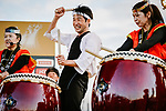 The art of taiko, Japanese percussions for Fumiyuki Beppu (JPN) at the media day before the 2018 Saitama Criterium, Japan. 3rd November 2018.<br /> Picture: ASO/Pauline Ballet | Cyclefile<br /> <br /> <br /> All photos usage must carry mandatory copyright credit (© Cyclefile | ASO/Pauline Ballet)