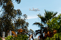Occidental College students and spectators gather in front of the AGC to watch the space shuttle Endeavour pass over Los Angeles on September 21, 2012. The shuttle, mounted on a modified NASA 747 aircraft, makes its final flight before its permanent installation at the California Science Center in October.<br /> (Photo by Marc Campos, Occidental College Photographer)