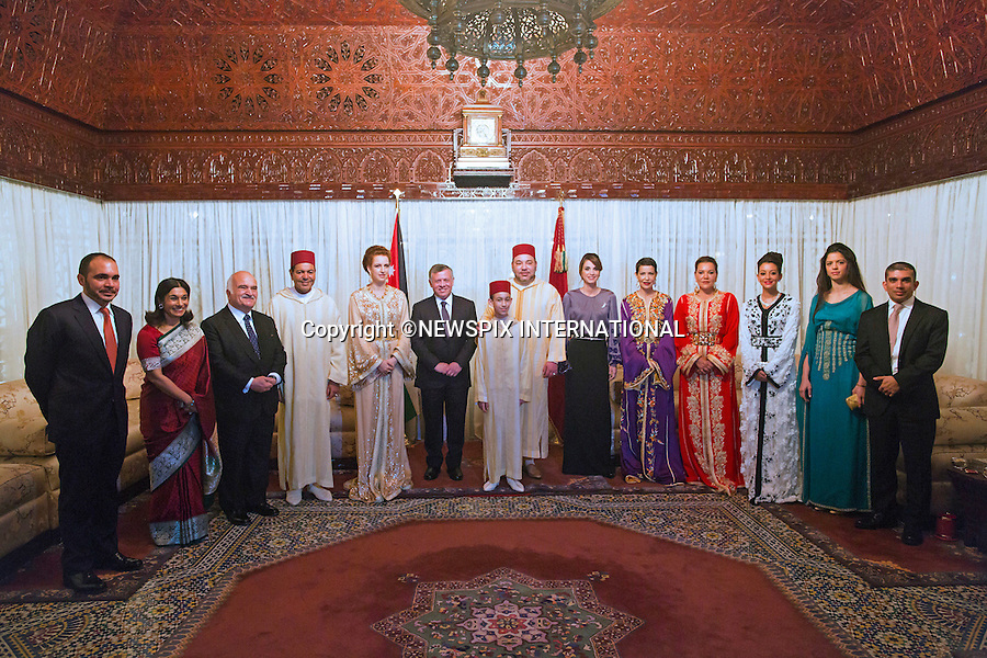 QUEEN RANIA, KING ABDULLAH ll, KING MOHAMMED lV AND PRINCESS LALLA SALMA<br /> attend Banquet at the Royal Palace, Casablanca, Morocco<br /> King Abdullah II and Her Majesty Queen Rania Al Abdullah were in Morocco on a working visit at an invitation by King Mohammed VI of Morocco_11/3/2015<br /> Mandatory Photo Credit: &copy;Royal Hashemite Court/NEWSPIX INTERNATIONAL<br /> <br /> **ALL FEES PAYABLE TO: &quot;NEWSPIX INTERNATIONAL&quot;**<br /> <br /> PHOTO CREDIT MANDATORY!!: NEWSPIX INTERNATIONAL(Failure to credit will incur a surcharge of 100% of reproduction fees)<br /> <br /> IMMEDIATE CONFIRMATION OF USAGE REQUIRED:<br /> Newspix International, 31 Chinnery Hill, Bishop's Stortford, ENGLAND CM23 3PS<br /> Tel:+441279 324672  ; Fax: +441279656877<br /> Mobile:  0777568 1153<br /> e-mail: info@newspixinternational.co.uk