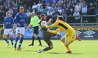 Lincoln City's Michael Bostwick vies for possession with Carlisle United's Adam Collin<br /> <br /> Photographer Chris Vaughan/CameraSport<br /> <br /> The EFL Sky Bet League Two - Carlisle United v Lincoln City - Friday 19th April 2019 - Brunton Park - Carlisle<br /> <br /> World Copyright © 2019 CameraSport. All rights reserved. 43 Linden Ave. Countesthorpe. Leicester. England. LE8 5PG - Tel: +44 (0) 116 277 4147 - admin@camerasport.com - www.camerasport.com