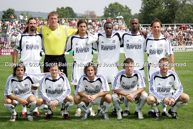 29 August 2005: Colorado starting eleven, including newly inducted Hall of Fame members Marcelo Balboa (top row, left) and Fernando Clavijo (top row, right). The Colorado Rapids defeated DC United 6-2 at At-A-Glance Field in Oneonta, New York in the 2005 Hall of Fame Game..