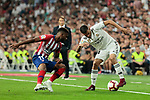 Real Madrid's Dani Ceballos and Atletico de Madrid's Thomas Lemar during La Liga match between Real Madrid and Atletico de Madrid at Santiago Bernabeu Stadium in Madrid, Spain. September 29, 2018. (ALTERPHOTOS/A. Perez Meca)