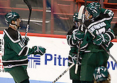 Josh Woody (PSU - 19), Mike Freitag (PSU - 7), JC Richardson (PSU - 2), Brantley Sherwood (PSU - 17) - The visiting Plymouth State University Panthers defeated the Wentworth Institute of Technology Leopards 2-1 on Monday, November 19, 2012, at Matthews Arena in Boston, Massachusetts.