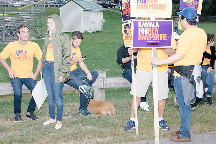 Supporters of Democratic presidential candidate and California senator Kamala Harris wait to march before the Labor Day Parade in Milford, New Hampshire, on Mon., September 2, 2019. Candidates Bernie Sanders and Vermin Supreme were the only candidates who marched in the parade this year.