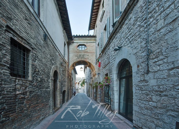 Europe, Italy, Umbria, Assisi, Street in Historic District at Dawn