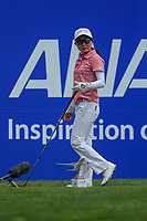 Ayako Uehara walks off the 1st tee during Round 3 at the ANA Inspiration, Mission Hills Country Club, Rancho Mirage, Calafornia, USA. {03/31/2018}.<br />