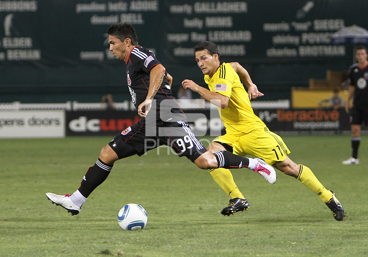 Jaime Moreno #99 of D.C. United drives past Dilly Duka #11 of the Columbus Crew during a US Open Cup semi final match at RFK Stadium on September 1 2010, in Washington DC. Columbus won 2-1 aet.
