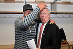 Wisconsin Badgers Head Coach Bo Ryan, right, with Green Bay Packers quarterback Aaron Rodgers after  a regional semifinal NCAA college basketball tournament game against the Baylor Bears Thursday, March 27, 2014 in Anaheim, California. The Badgers won 69-52. (Photo by David Stluka)