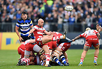 Willi Heinz of Gloucester Rugby box-kicks the ball. Aviva Premiership match, between Bath Rugby and Gloucester Rugby on October 29, 2017 at the Recreation Ground in Bath, England. Photo by: Patrick Khachfe / Onside Images