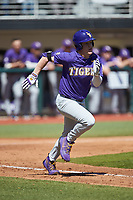 Daniel Cabrera (2) of the LSU Tigers hustles down the first base line against the Georgia Bulldogs at Foley Field on March 23, 2019 in Athens, Georgia. The Bulldogs defeated the Tigers 2-0. (Brian Westerholt/Four Seam Images)