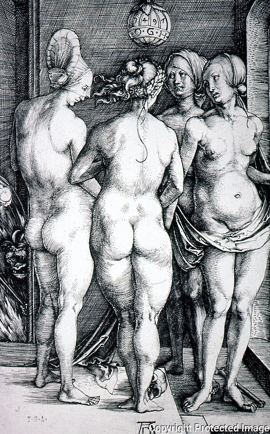 """Visual Arts:  Albrecht Durer--Four Naked Women (Four Witches), 1497.  Engraving. The three nudes in foreground are derived from the three Graces.. """"and Juno, Venus, Minerva & Discordia, who set her fellow goddesses to quarrelling with golden apples.""""  Also, witches at their Sabbath."""