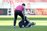 09 December 2016: Seattle's Alvaro Fernandez (URU) (right) is dragged by Herculez Gomez (in pink). Seattle Sounders FC held a training session one day before playing in MLS Cup 2016 at BMO Field in Toronto, Ontario in Canada.