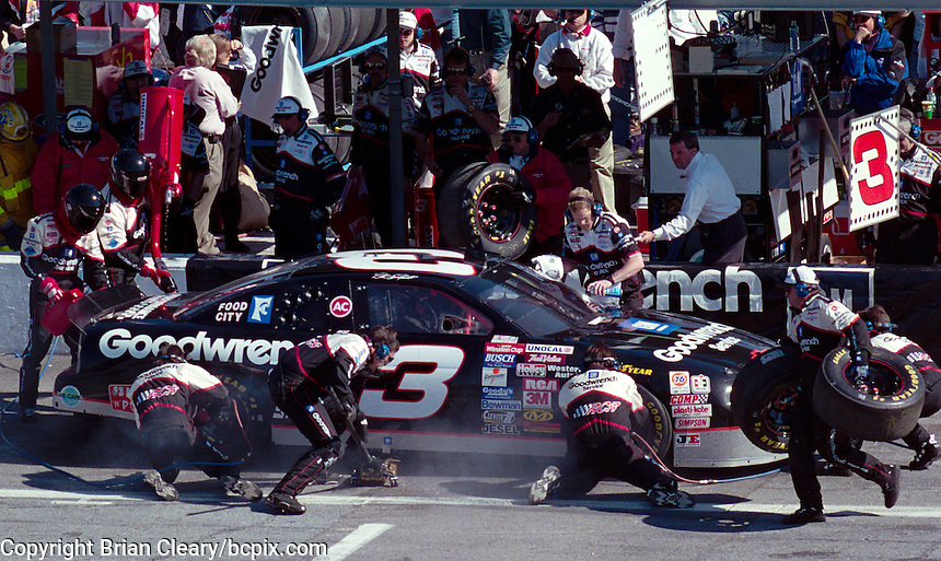 Dale Earnhardt makes a pitstop during the 1996 Daytona 500. (Photo by Brian Cleary/www.bcpix.com)