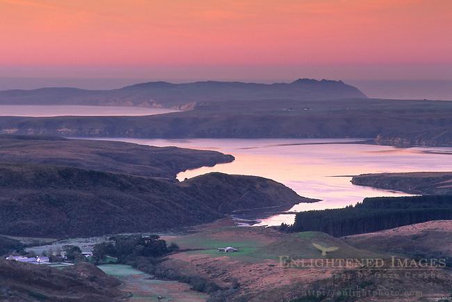 Dawn light over Drakes Estero looking toward Drakes Beach, Point Reyes National Seashore, Marin County, California