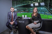 (L-R) Leon Britton and Sioned Dafydd at the broadcast suite and studio for the Swansea City AFC live broadcasts at the Liberty Stadium, Wales, UK. Wednesday 30 November 2018