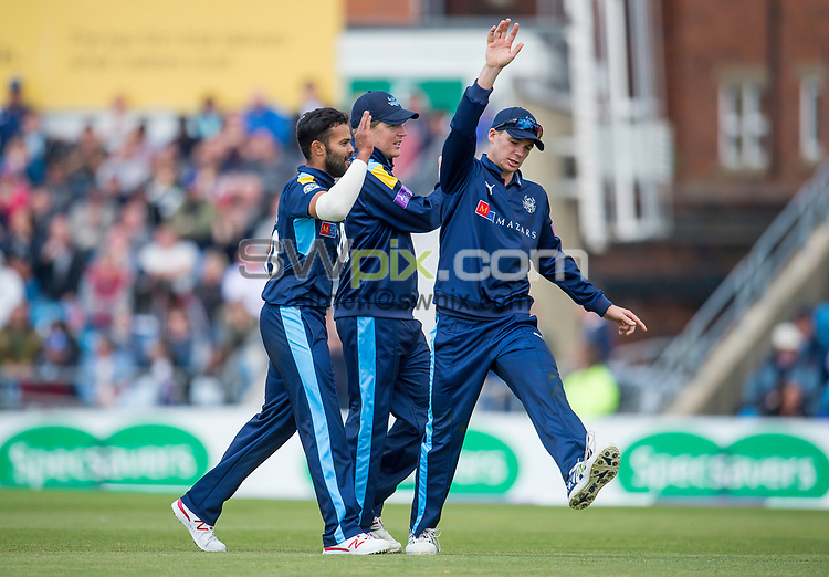 Picture by Allan McKenzie/SWpix.com - 01/05/2017 - Cricket - Royal London One-Day Cup - Yorkshire v Lancashire - Headingley Cricket Ground, Leeds, England - Yorkshire's Azeem Rafiq celebrates dismissing Lancashire's Ryan McLaren.
