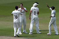 Joe Mennie of Lancashire celebrates taking the wicket of Alastair Cook during Lancashire CCC vs Essex CCC, Specsavers County Championship Division 1 Cricket at Emirates Old Trafford on 10th June 2018