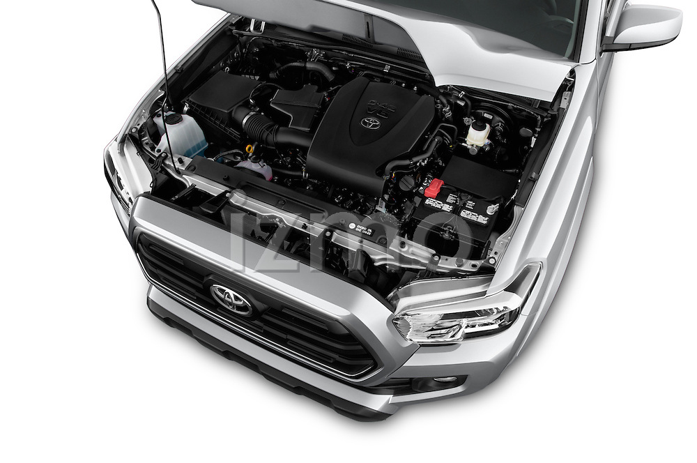 Car Stock 2016 Toyota Tacoma SR5 4 Door Pickup Engine  high angle detail view
