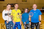 Jenny Dee, Frances Flaherty, Jolanta Ladan, Marek Gesto, pictured at the Badminton tournament which took place in Killarney Sports and Leisure on Sunday.