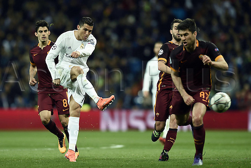 08.03.2016 Estadio Santiago Bernabeu, Madrid, Spain. UEFA Champions League Real Madrid CF versus AS Roma. Last 16 second leg match in Madrid.  Cristiano Ronaldo shoots and gets his shot on goal past Ervin Zukanovic