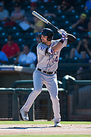 Salt River Rafters right fielder Sam Hilliard (14), of the Colorado Rockies organization, at bat during an Arizona Fall League game against the Surprise Saguaros on October 9, 2018 at Surprise Stadium in Surprise, Arizona. The Rafters defeated the Saguaros 10-8. (Zachary Lucy/Four Seam Images)