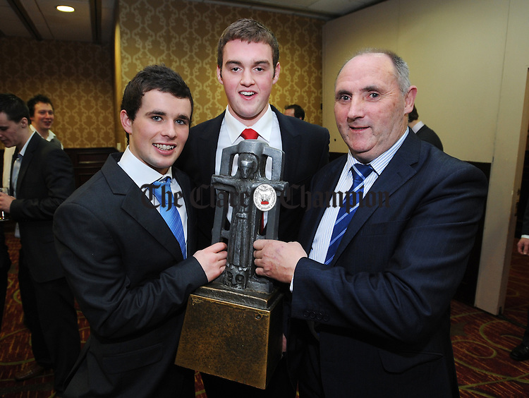 Cathal O' Connell with Ronan Taafe and Syl O' Connor, former PRO, during the Clare U-21 hurling medal presentation night at the West County Hotel in Ennis. Photograph by Declan Monaghan