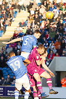 Luke Prosser of Colchester United out jumps the Carlisle defence, but his effort is just wide during Colchester United vs Carlisle United, Sky Bet EFL League 2 Football at the JobServe Community Stadium on 23rd February 2019