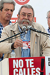Expression of the Spanish trade unions against cuts and closures of public services.Candido Mendez, Secretary general of UGT of Spain during the union rally after demonstration..(Alterphotos/Ricky)