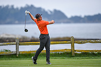 Viktor Hovland (NOR)(a) watches his tee shot on 18 during round 4 of the 2019 US Open, Pebble Beach Golf Links, Monterrey, California, USA. 6/16/2019.<br /> Picture: Golffile | Ken Murray<br /> <br /> All photo usage must carry mandatory copyright credit (© Golffile | Ken Murray)