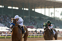 ARCADIA, CA  APRIL 7: #6 Justify, ridden by Mike Smith, in the stretch of the Santa Anita Derby (Grade l) on April 7, 2018, at Santa Anita Park in Arcadia, Ca.Photo by Casey Phillips/ Eclipse Sportswire/ Getty Images)
