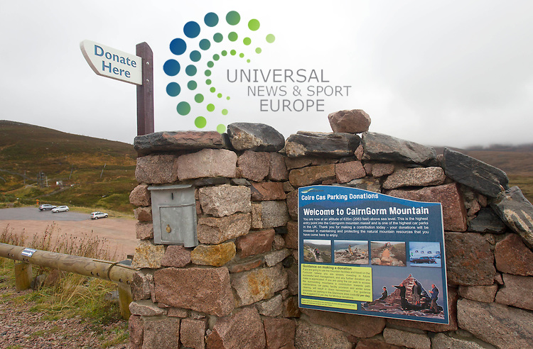 A group representing mountaineers and hillwalkers has raised concerns about the introduction of a &pound;2 donation to use a car park in the Cairngorms.<br /> Company CairnGorm Mountain will operate donation boxes at the Coire Cas car park as a two-year trial.<br /> Funds raised would go towards maintaining what is believed the UK's highest large car park and for repairing footpaths.<br /> The Mountaineering Council for Scotland (MCofS) wants the scheme fully audited.<br /> Picture: Universal News And Sport (Europe) 16 October  2014.