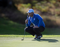 26.09.2014. Gleneagles, Auchterarder, Perthshire, Scotland.  The Ryder Cup.  Sergio Garcia (EUR) lines up a putt on the fifth hole during the Friday Fourballs.